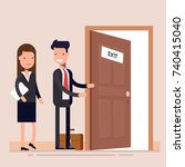 businessman offers a woman to... | Shutterstock .eps vector #740415040