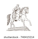 hand drawn sketch of berlin ... | Shutterstock .eps vector #740415214