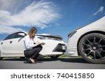 insurance agent writing on... | Shutterstock . vector #740415850