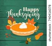 happy thanksgiving. round... | Shutterstock .eps vector #740416078