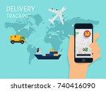 hand holding mobile smart phone ... | Shutterstock .eps vector #740416090
