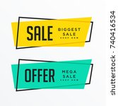 geometric sale banners with... | Shutterstock .eps vector #740416534