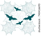 obwebs and bats. halloween... | Shutterstock .eps vector #740416693