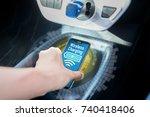 wireless charging of smart... | Shutterstock . vector #740418406