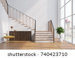 white living room interior with ...   Shutterstock . vector #740423710