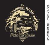classic car illustration | Shutterstock .eps vector #740424706