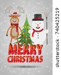 merry christmas text. christmas ... | Shutterstock .eps vector #740425219