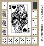 playing cards of hearts suit in ... | Shutterstock .eps vector #740426824