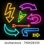neon glowing arrow pointer set  ... | Shutterstock .eps vector #740428150