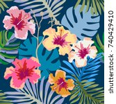 beautiful tropical print.... | Shutterstock .eps vector #740429410