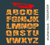 decorative alphabet vector font.... | Shutterstock .eps vector #740439559
