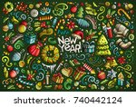 colorful vector hand drawn... | Shutterstock .eps vector #740442124