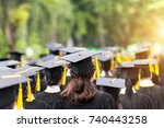 back of graduates during... | Shutterstock . vector #740443258