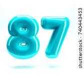 aqua blue glossy celebrate... | Shutterstock . vector #740443453