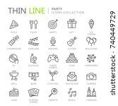 collection of party thin line...   Shutterstock .eps vector #740449729
