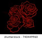 a glowing red neon rose... | Shutterstock . vector #740449960