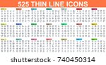simple set of vector thin line... | Shutterstock .eps vector #740450314