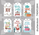 set of christmas planner and... | Shutterstock .eps vector #740451844