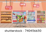 supermarket store interior with ... | Shutterstock . vector #740456650