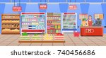 supermarket store interior with ... | Shutterstock . vector #740456686