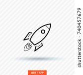 rocket line vector icon  | Shutterstock .eps vector #740457679