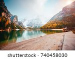 scenic image of alpine lake... | Shutterstock . vector #740458030