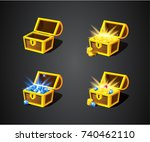gold treasures and diamonds.... | Shutterstock .eps vector #740462110