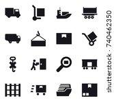 16 vector icon set   truck ... | Shutterstock .eps vector #740462350