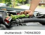 auto mechanic providing car... | Shutterstock . vector #740463820