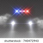 headlights flares and siren... | Shutterstock .eps vector #740472943