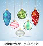 christmas balls ornaments... | Shutterstock .eps vector #740474359