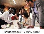 teamwork concept.young creative ... | Shutterstock . vector #740474380