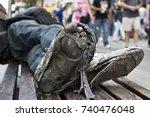 Homeless Man S Sleeping In A...
