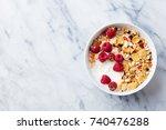 healthy breakfast. fresh... | Shutterstock . vector #740476288