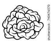 flower rose  black and white.... | Shutterstock .eps vector #740476570