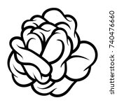 flower rose  black and white.... | Shutterstock .eps vector #740476660