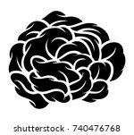 flower rose  black and white.... | Shutterstock .eps vector #740476768