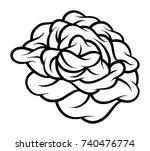 flower rose  black and white.... | Shutterstock .eps vector #740476774