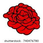 red rose isolated on white... | Shutterstock .eps vector #740476780