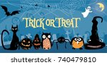 cute  stylized vector halloween ... | Shutterstock .eps vector #740479810