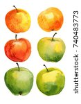 apples painted with watercolors ... | Shutterstock . vector #740483773