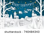 merry christmas and happy new... | Shutterstock .eps vector #740484343