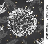 merry christmas and happy new... | Shutterstock .eps vector #740484349