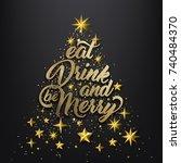 christmas golden background ... | Shutterstock .eps vector #740484370