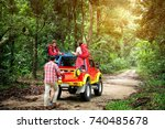 travel group of young asian... | Shutterstock . vector #740485678