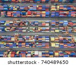 aerial top view container in... | Shutterstock . vector #740489650