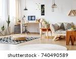 apple in bowl on designer... | Shutterstock . vector #740490589