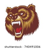 angry brown bear head mascot.... | Shutterstock .eps vector #740491006
