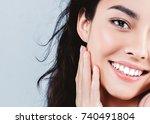 beautiful woman skincare ... | Shutterstock . vector #740491804