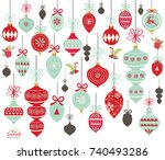 christmas ornament collections | Shutterstock .eps vector #740493286